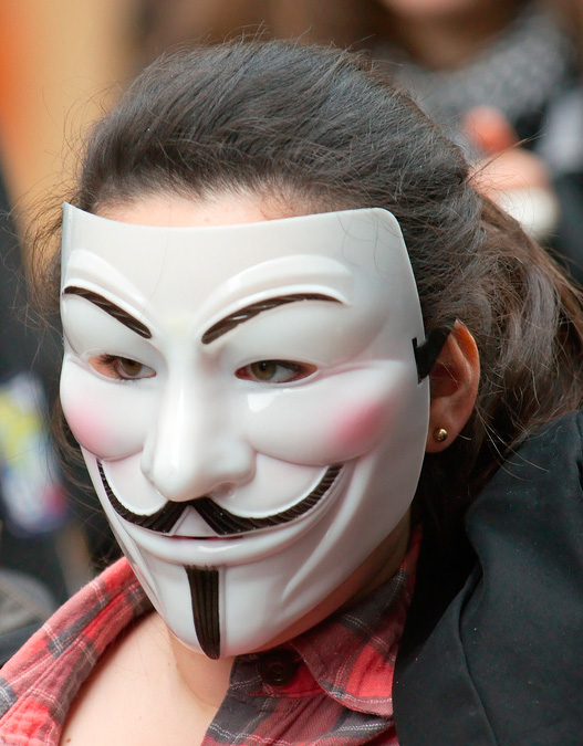 Miembro de Anonymous durante una manifestación en EEUU (Foto: zigazou76 en Flickr)
