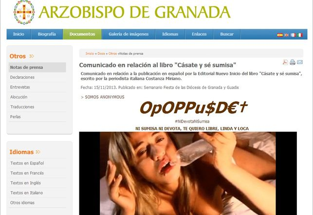 Web hackeada del arzobispado de Granada