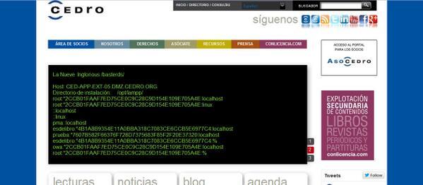 Página hackeada de CEDRO