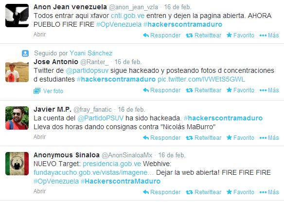 Pantallazo de tuits que llegan de Venezuela